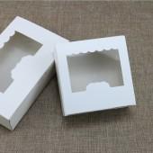 Коробка белая с окошком 13,5*13,*5см