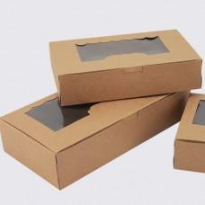 Крафт коробка с окошком 21,5*13,5*5см