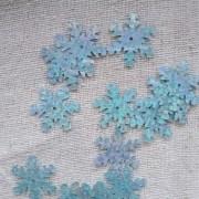 Пайетки снежинки, голубые20шт
