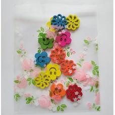 Пакет прозрачный с  рисунком, розы 10*13см