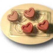 Пластиковая форма для мыла 4 Сердечка