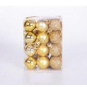 Новогодние шарики 3см, цвет золото 24шт