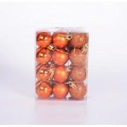 Новогодние шарики 3см, цвет оранжевый 24шт