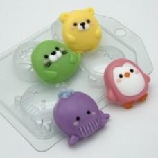 Пластиковая форма для мыла Зверюшки мультяшные МИНИ