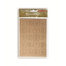 Набор вырубок из чипборда 2 листа в упаковке КРАФТ ЦИФРЫ