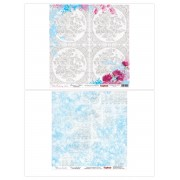 Бумага для скрапбукинга 30,5х30,5 см 180 гр/м двусторон Цветочная вышивка Схема для вышивания