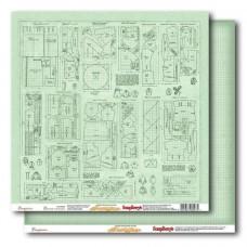 Бумага для скрапбукинга 30х30см 180 гр/м двусторонняя Выкройки