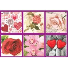 Салфетки бумажные Love2Art АССОРТИ 3х слойные SDD 33х33 см набор №05 День Св. Валентина