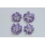 Цветы кудрявой фиалки, набор 2 шт- диам 5см, 2 шт - диам 4,2 см, фиолетовые