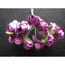 Бумажные розы  фиолетовые 12шт