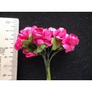 Бумажные розы малиновые 12шт