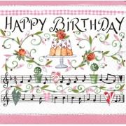 Салфетка для декупажа 33х33 см Песня на день рождения