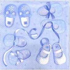 Салфетка для декупажа 33*33см Голубые пинетки