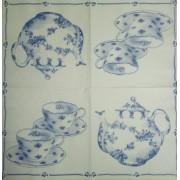 Салфетка для декупажа размер 33х33 см Чай для двоих, белый-голубой