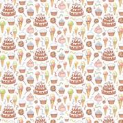 Бумага для скрапбукинга 30,5х30,5 см 180 гр/м двусторон С Днем Рождения! Десерт