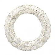 Декоративный венок на метал. Каркасе, круглый, белый, 20см