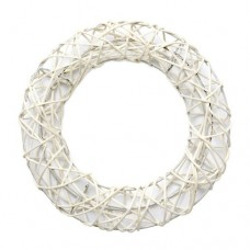 Декоративный венок на метал. Каркасе, круглый, белый, 25см