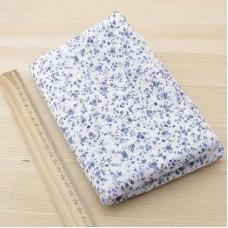 Ситец лоскут 50х50см, синие цветы на белом