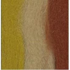 Пряжа MY-050   Шерсть для валяния   100% мериносовая шерсть   50 г №6063 терракот/горчица/песочный