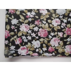 Ситец лоскут 50х50см, розовые цветы на черном