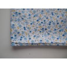 Ситец лоскут 50х50см, голубые цветы на белом