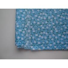 Ситец лоскут 50х50см, белые цветы на голубом