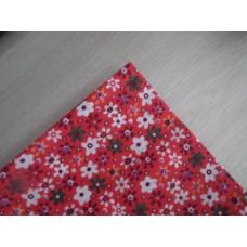 Ситец лоскут 50х50см, полевые цветы на красном