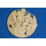 Заготовка для часов Бабочки с бабочками фанера 30 см ф3-4 №08-0026