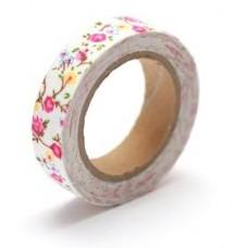 Тканевый скотч с цветочным принтом №21 15мм*4м