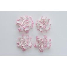 Цветы кудрявой фиалки, набор 2 шт- диам 5см, 2 шт - диам 4,2 см, бело-розовые