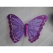 Бабочка из перьев 10х8см  фиолетовая