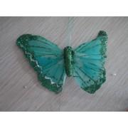 Бабочка из перьев 10х8см зеленая