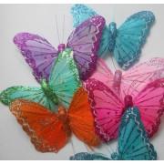 Бабочка из перьев 10х8см оранжевая