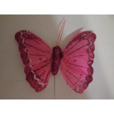 Бабочка из перьев 10х8см розовая