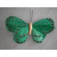 Перьевая бабочка 10х6см зеленая