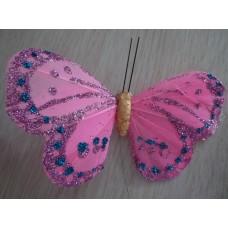 Перьевая бабочка 10х6см розовая