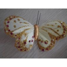 Перьевая бабочка 10х6см светло-желтая