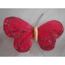 Перьевая бабочка 10х6см красная