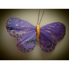 Перьевая бабочка 10х6см фиолетовая