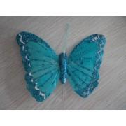 Бабочка из перьев 10х8см  голубая