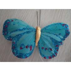Перьевая бабочка 10х6см голубая