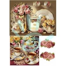 Карта для декупажа Чай и розы №27-0128-1