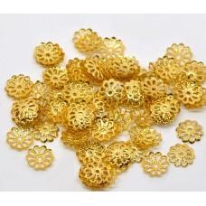 Шапочка для бусин с тиснением 9мм,  цвет золото